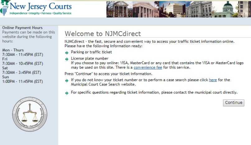 Pay New Jersey traffic ticket Online